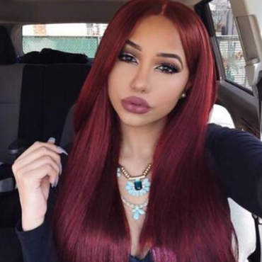 Lovely Casual Long Straight Wine Red Wigs