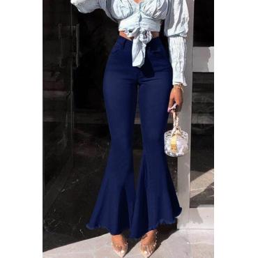 Lovely Stylish High Waist Zipper Design Deep Blue Jeans
