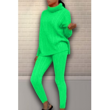 Lovely Casual Turtleneck Green Two-piece Pants Set