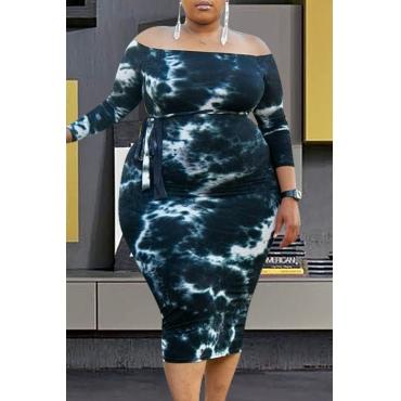 Lovely Casual Gradual Change Black Mid Calf Plus Size Dress