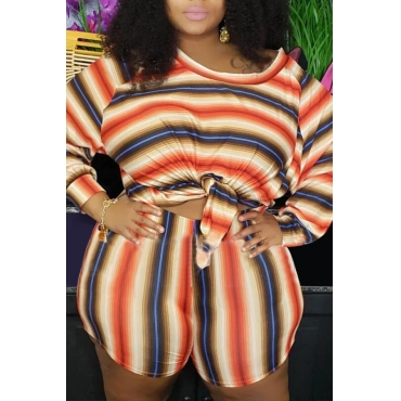 Lovely Casual O Neck Striped Printed Orange Plus Size Two-piece Shorts Set