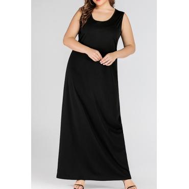 Lovely Casual Sleeveless Black Ankle Length Plus Size Dress