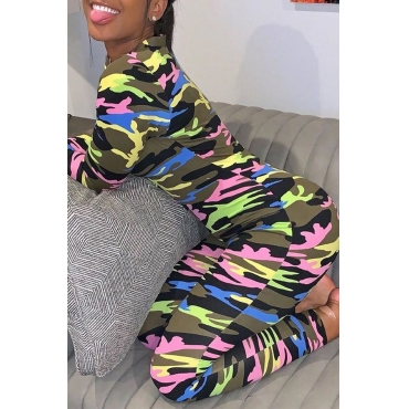 Lovely Trendy Camouflage Printed One-piece Jumpsuit