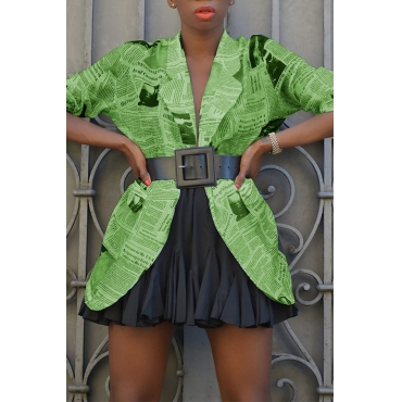 Lovely Casual Printed Green Coat(Without Belt)