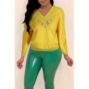 Lovely Trendy V Neck Hollow-out Yellow Sweaters
