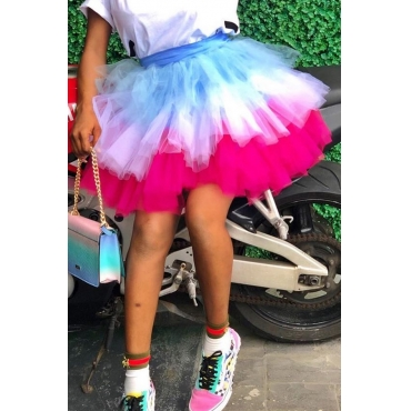 Lovely Chic Ruffle Design Multicolor Mini Skirt