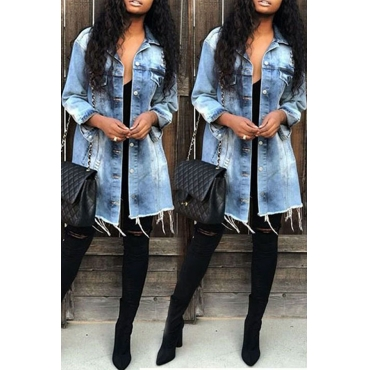 Lovely Casual Raw Edge Baby Blue Denim Coat