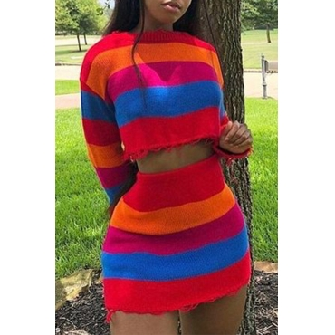 Lovely Casual Striped Multicolor Two-piece Skirt Set