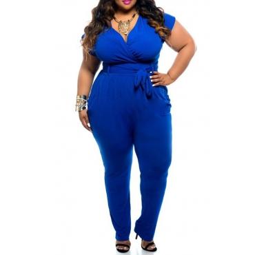 Lovely Trendy V Neck Royal Blue Plus Size One-piece Jumpsuit