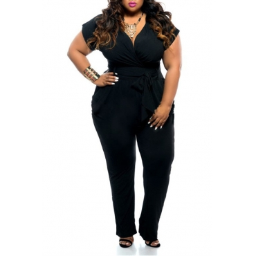 Lovely Trendy V Neck Black Plus Size One-piece Jumpsuit