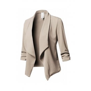 Lovely Trendy Lapel Khaki Coat
