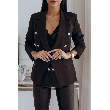 Lovely Trendy Double-breasted Black Coat