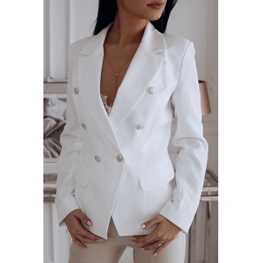 Lovely Trendy Double-breasted White Blazer