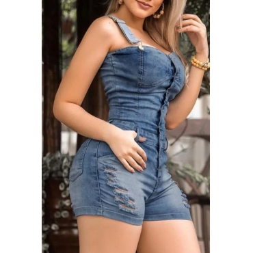 Lovely Casual Broken Holes Blue One-piece Romper