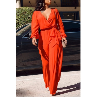 Lovely Chic Cross-over Design Orange One-piece Jumpsuit