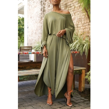 Lovely Casual Side Slit Loose Army Green Two-piece Pants Set