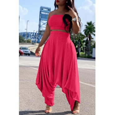 Lovely Casual Loose Rose Red Two-piece Pants Set