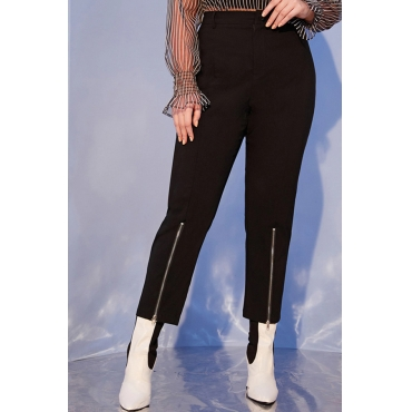 Lovely Casual Zipper Design Black Plus Size Leggings