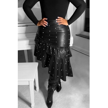 Lovely Trendy Asymmetrical Design Black Skirt