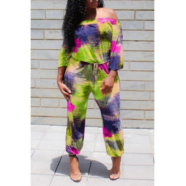 Lovely Trendy Letter Printed Green One-piece Jumpsuit