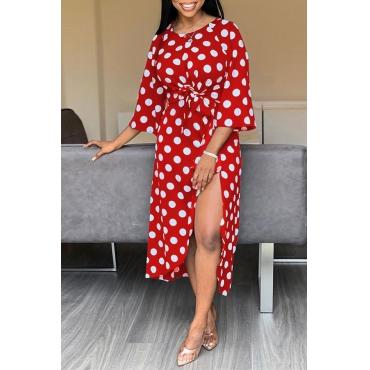 Lovely Sweet Dot Printed Side Slit Red Mid Calf Dress