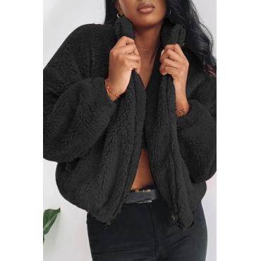 Lovely Trendy Zipper Design Black Coat
