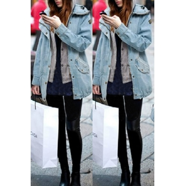 Lovely Casual Hooded Collar Patchwork Baby Blue Coat