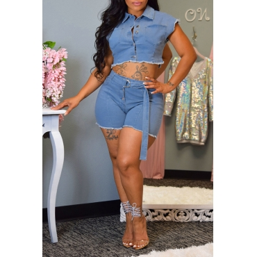 Lovely Casual Turndown Collar Buttons Design Blue Two-piece Shorts Set