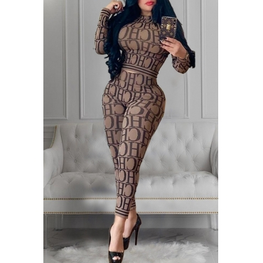 Lovely Casual Letter Printed Khaki Two-piece Pants Set
