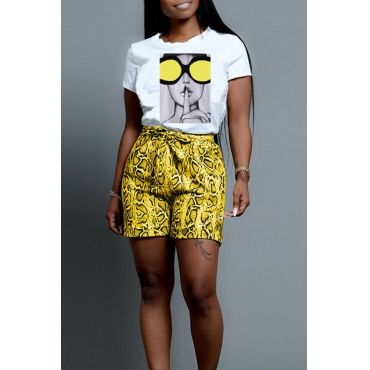 Lovely Trendy Printed Yellow Two-piece Shorts Set