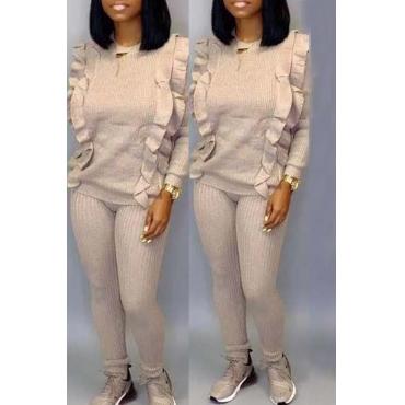 Lovely Trendy Flounce Design Apricot Two-piece Pants Set