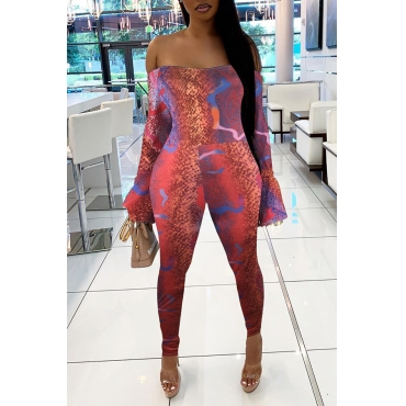 Lovely Casual Dew Shoulder Red One-piece Jumpsuit