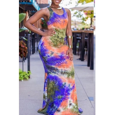 Lovely Trendy Sleeveless Hollow-out Multicolor Floor Length Dress