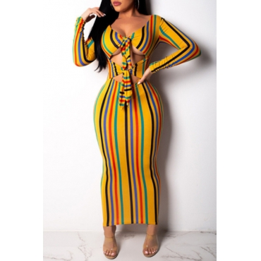Lovely Trendy Striped Hollow-out Ankle Length Dress