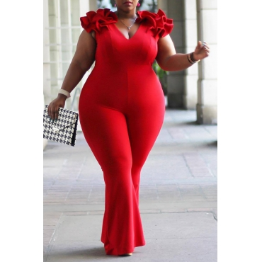 Lovely Casual V Neck Red Plus Size One-piece Jumpsuit
