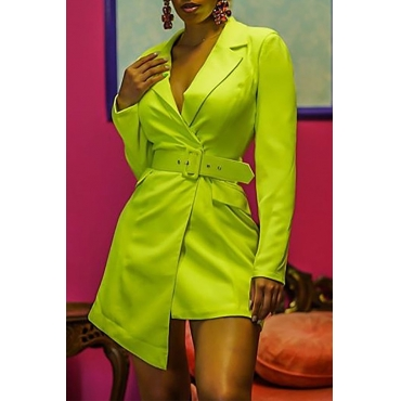 Lovely Work Asymmetrical Green Blazer(With Belt)