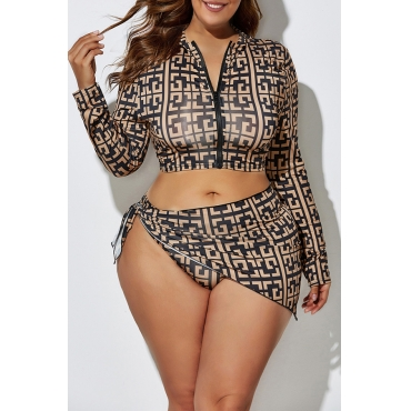 Lovely Printed Zipper Design Black Plus Size Two-piece Swimwear