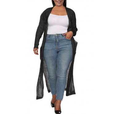 Lovely Casual Pocket Patched Black Plus Size Coat