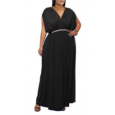 Lovely Casual V Neck Sleeveless Black Ankle Length Plus Size Dress(Without Belt)