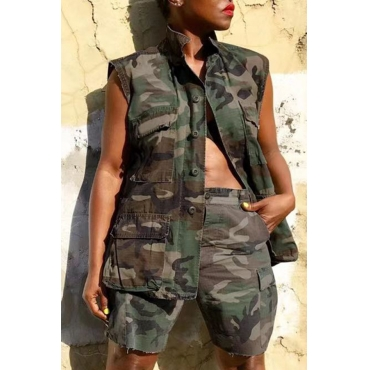 Lovely Casual Tank Sleeveless Camouflage Printed Two-piece Shorts Set