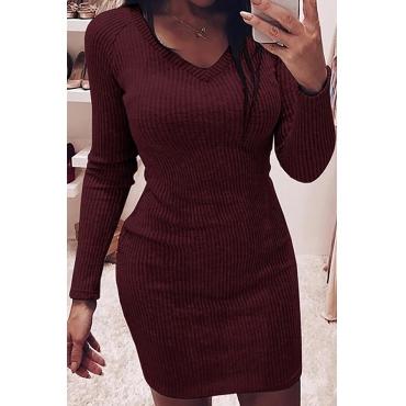 Lovely Casual V Neck Skinny Wine Red Mini Dress