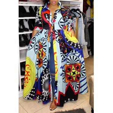 Lovely Casual Turndown Collar Printed Multicolor Floor Length Dress