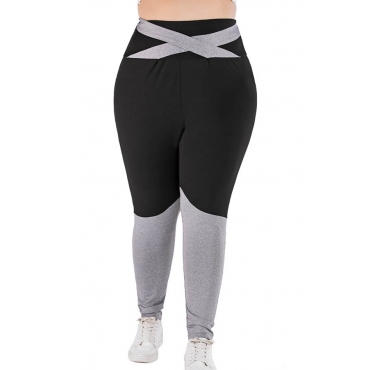 Lovely Casual Patchwork Black Plus Size Leggings