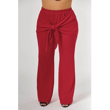 Lovely Casual Knot Design Red Plus Size Pants