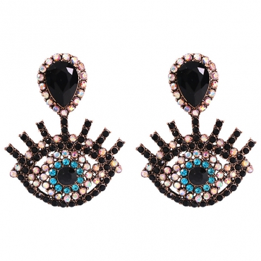 Lovely Retro Hollow-out Black Alloy Earring