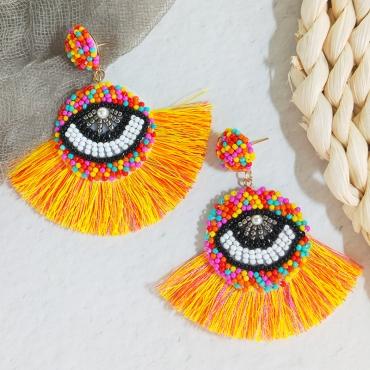 Lovely Retro Tassel Design Multicolor Alloy Earring