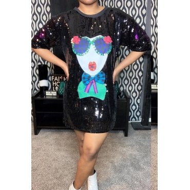 Lovely Casual Sequined Black Mini T-shirt Dress