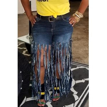 Lovely Trendy Tassel Design Deep Blue Jeans