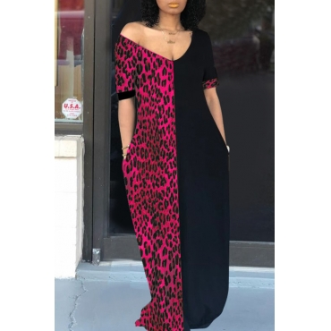 Lovely Casual Patchwork Leopard Printed Rose Red Floor Length T-shirt Dress