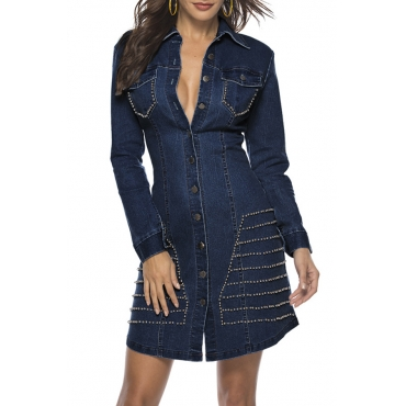 Lovely Casual Turndown Collar Rivet Decorative Deep Blue Mini Dress